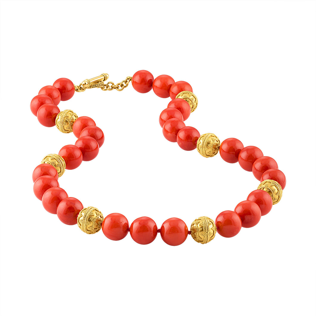 Natural Sardinian Coral and 24K Granulated Bead Necklace