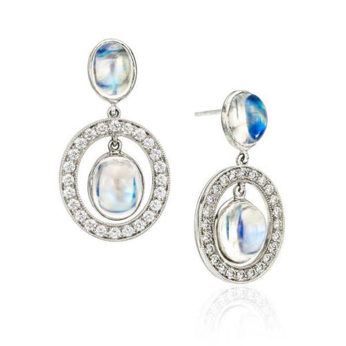 Moonstone & Diamond Open Circle Earrings