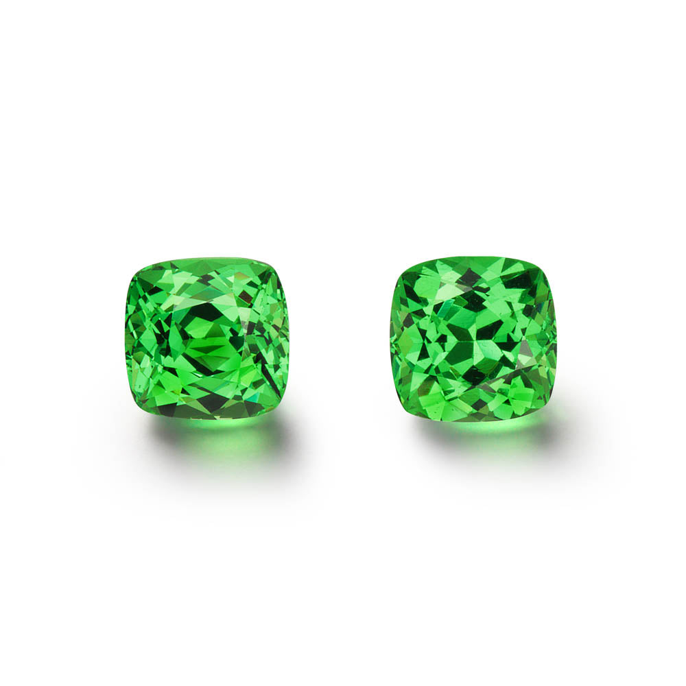 Pair of 2.61cts. Cushion Cut Tsavorite Gemstones
