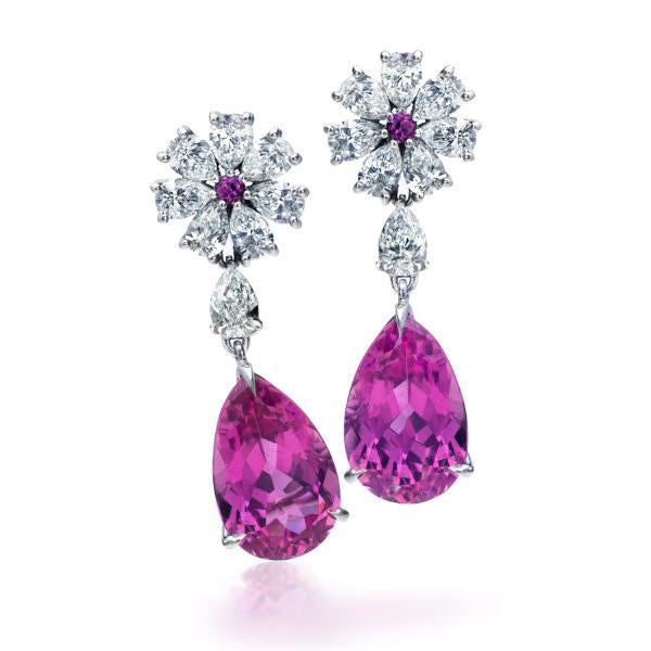 Platinum, Diamond, Sapphire & Rubellite Floral Motif Earrings