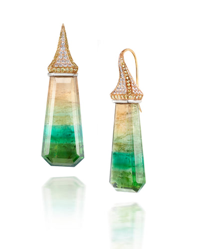 Tourmaline Drop Earrings with Pave Diamond