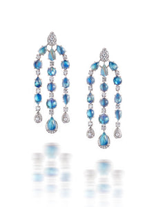 "Rainbow Moonstone & Diamond ""Chandelier"" Earrings"