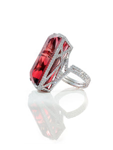 Tri-Color Tourmaline and Diamond Ring
