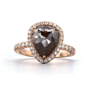 Rose Gold Rose Cut Brown Diamond Ring