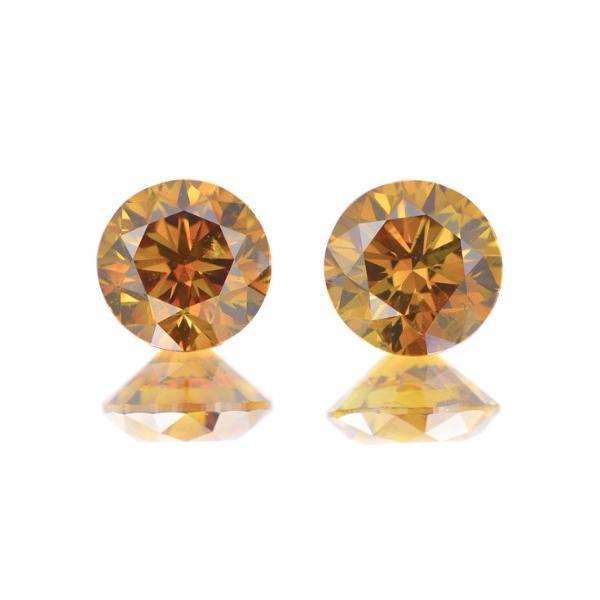 Round Brilliant Cut Brown Diamond Pair Unavailable