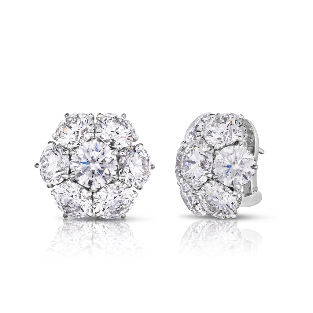 Seven Stone Diamond Cluster Earrings