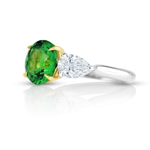 Round Brilliant Cut Tsavorite Three Stone Ring