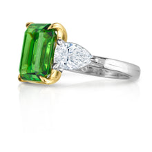 Load image into Gallery viewer, Emerald Cut Tsavorite and Pear Shape Diamond Three Stone Ring