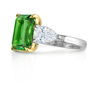 Emerald Cut Tsavorite and Pear Shape Diamond Three Stone Ring