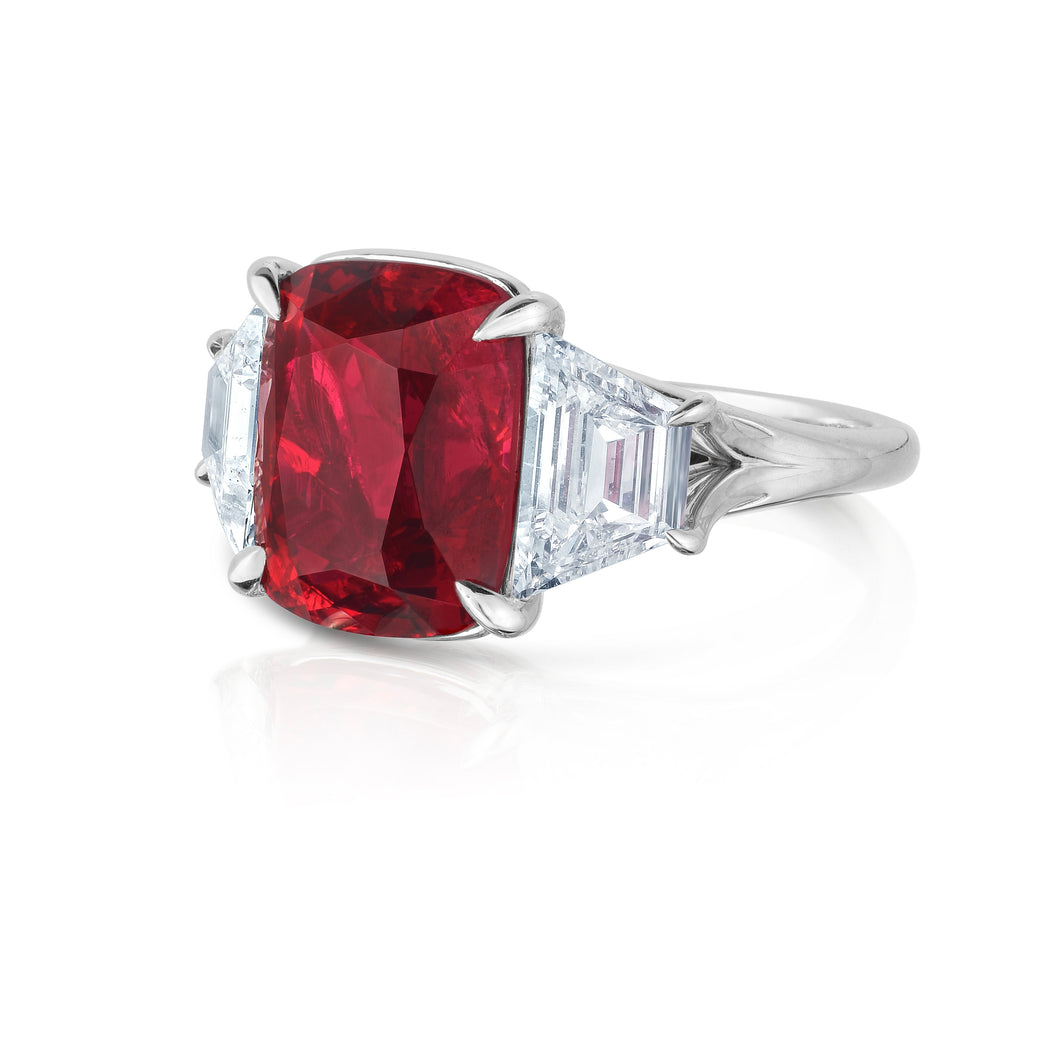 Burmese Red Spinel and Diamond Three Stone Ring