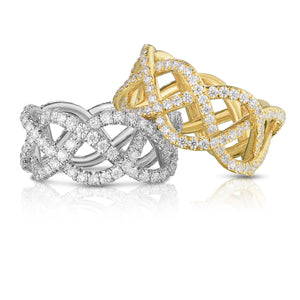 18K Yellow Gold & Diamond Pave Three Row Woven Ring
