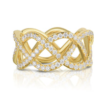 Load image into Gallery viewer, 18K Yellow Gold & Diamond Pave Three Row Woven Ring