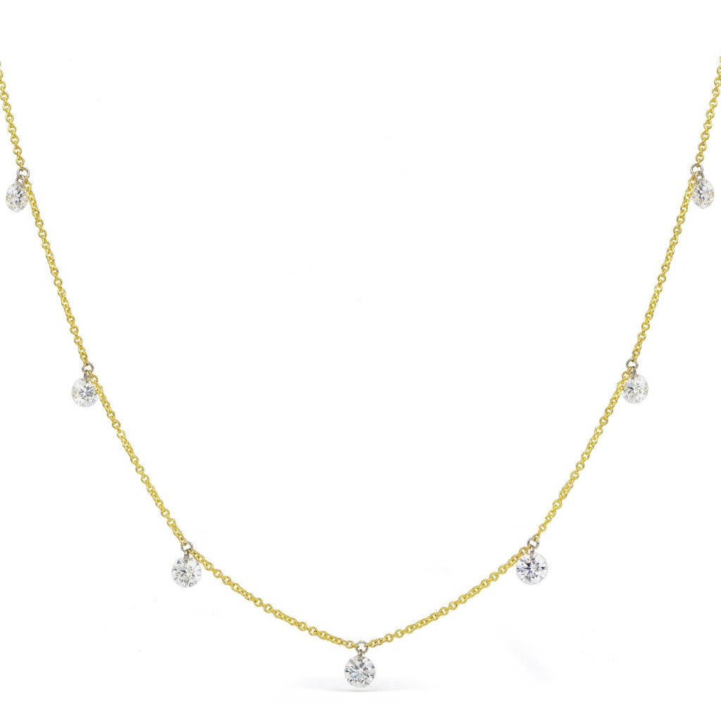 Seven Stone Drilled Diamond Necklace
