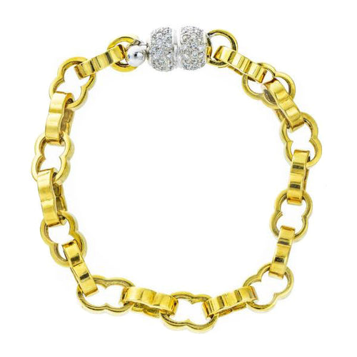 Solid 18K Gold & Diamond Cable Bracelet