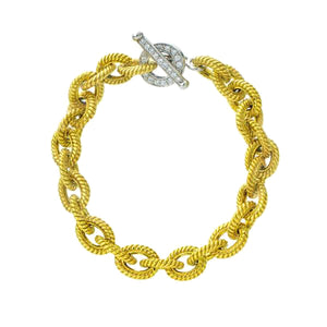 Solid 18K Gold & Diamond Toggle Clasp Bracelet