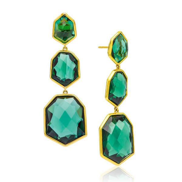 Triple Green Tourmaline Drop Earring