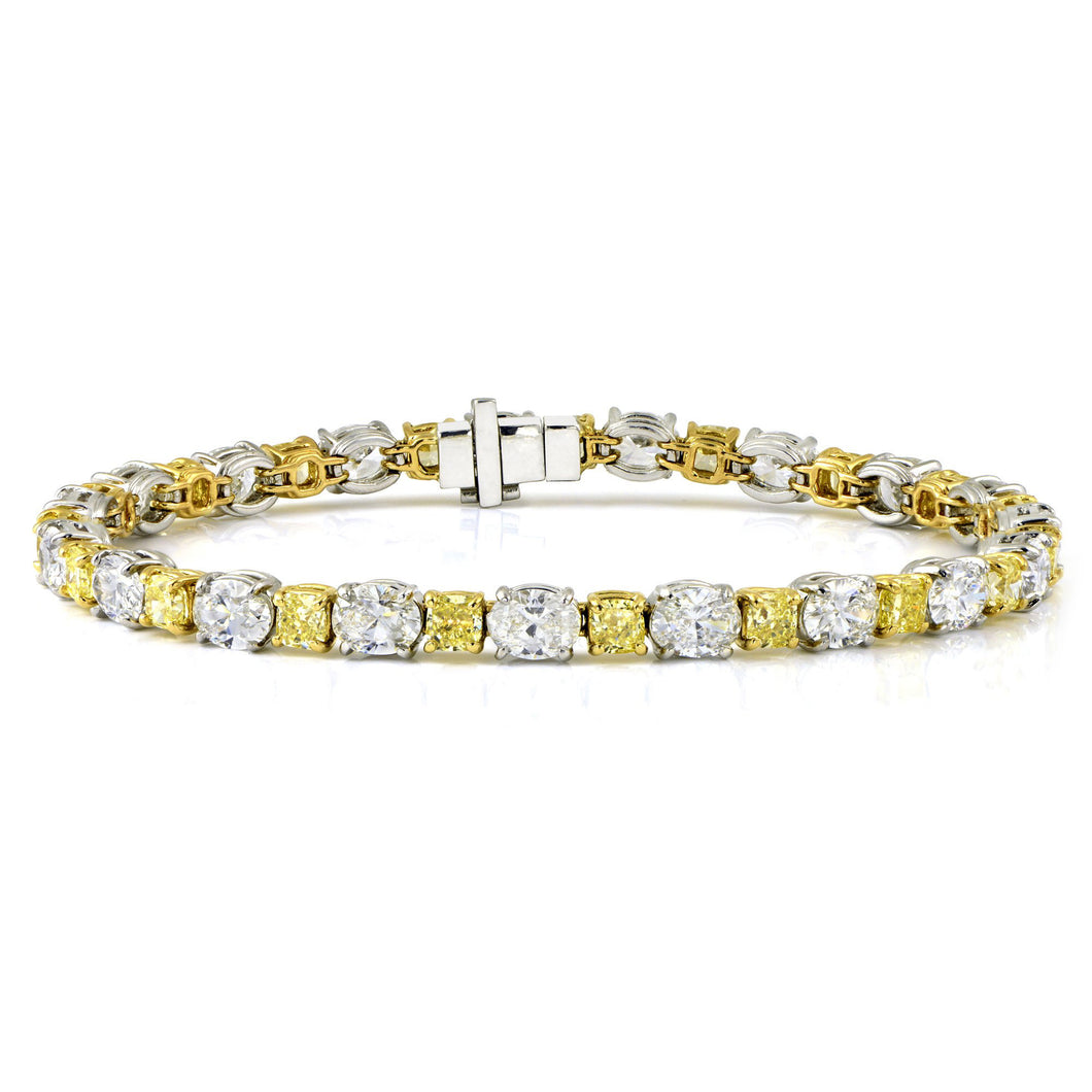 Yellow & White Diamond Bracelet in Platinum and 18K White Gold