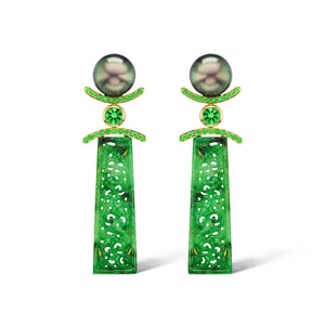 Tahitian Pearl, Carved Jade, & Tsavorite Earrings by Assael