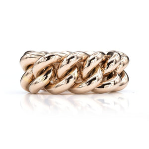 18K Pink Gold Curb Link Chain Ring