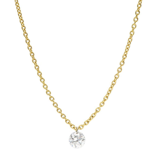 18K Yellow Gold Drilled Diamond Pendant Fringe Necklace