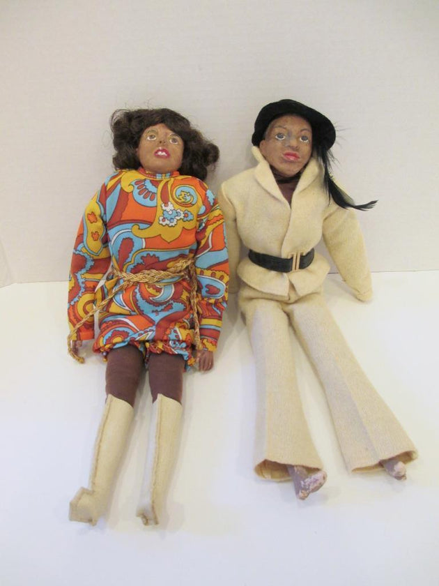 Pair of handmade dolls, 1970s