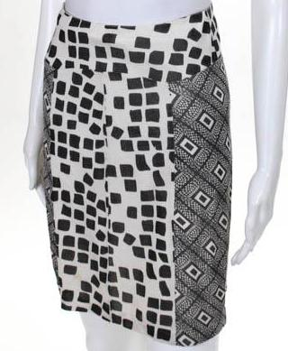 Duro Olowu Black & White Print A-line Silk Skirt