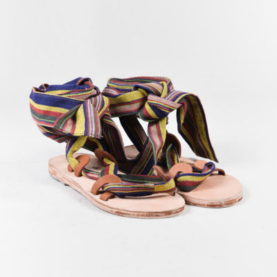 "Brother Vellies Multi-Striped ""Zanzibar"" Wrap Sandals"