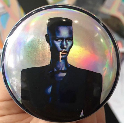 Grace Jones Holographic Button