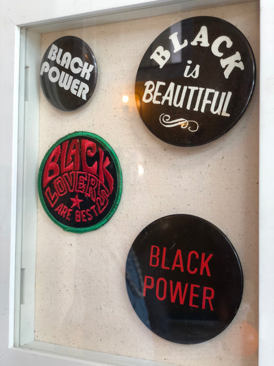 Vintage Large Black Power Pin Button