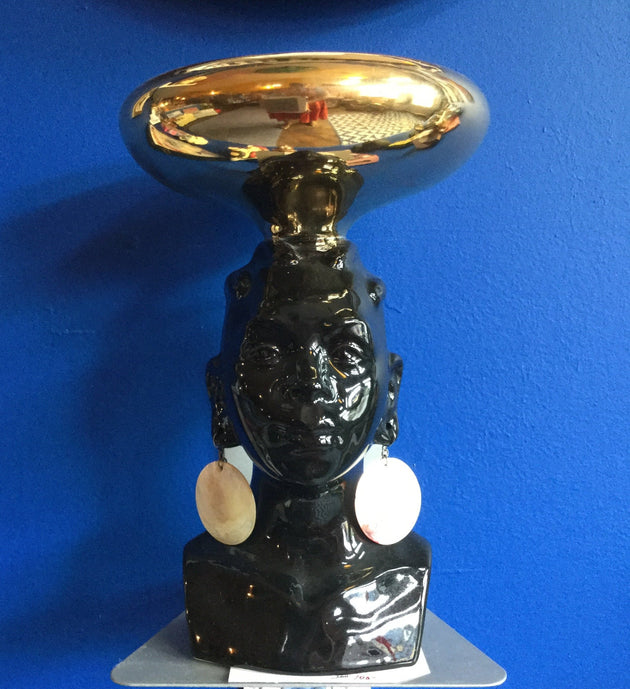 Midcentury Dish with Bust of Woman