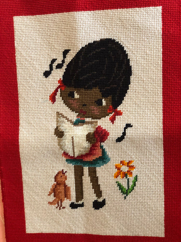 Needlepoint of Singing Girl