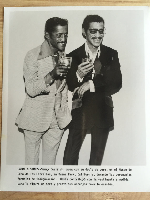 Sammy Davis, Jr., with wax figure at Movieland Wax Museum, Buena Park, CA, 1983--Sammy's 50th year in show business