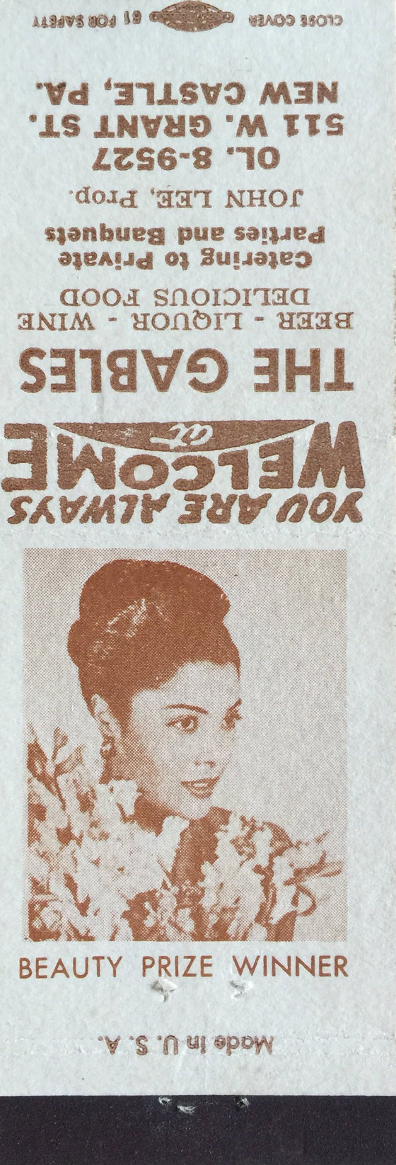 """Beauty Prize Winner"" Matchbook Cover"