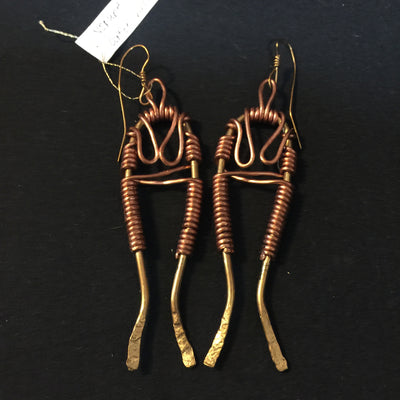 Yoruba Twins Copper and Bronze Earrings by Silk River Metals