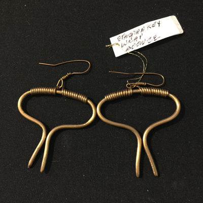 Ethiopian Key Wrap Bronze Earrings by Silk River Metals