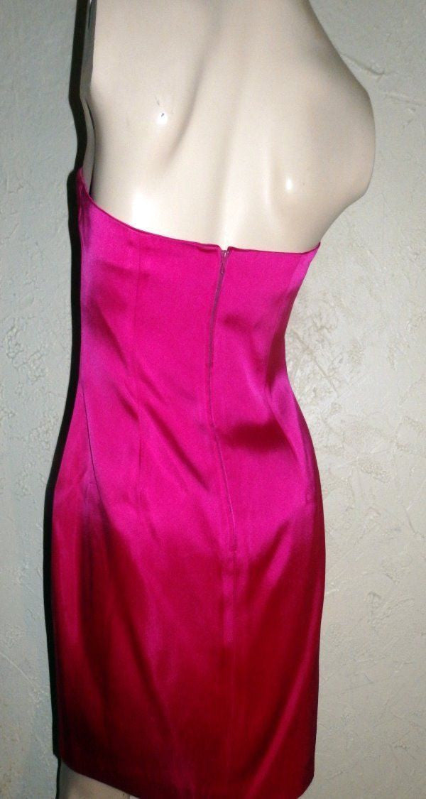 Patrick Kelly Pink Satin Strapless Pencil Cut Cocktail Dress