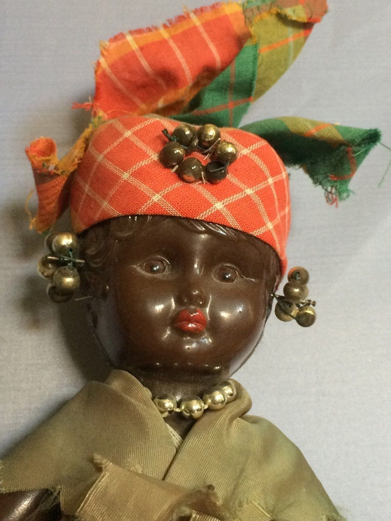 Vintage Doll in Orange Tignon