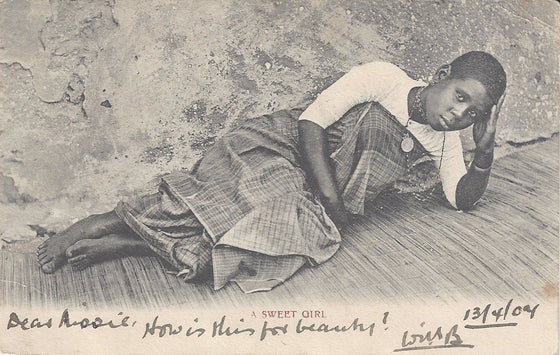 """A Sweet Girl"" Reclining Woman, Capetown, 1904"