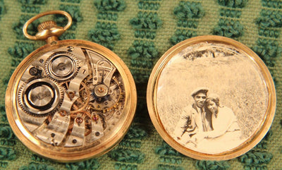 Vintage Burlington Pocket watch with photograph of couple