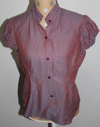 Sistahs of Harlem Purple Button Down Cap Sleeve Blouse