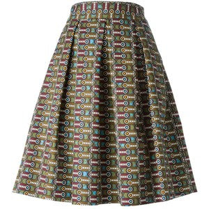 Stella Jean Multicolor printed box-pleated midi skirt