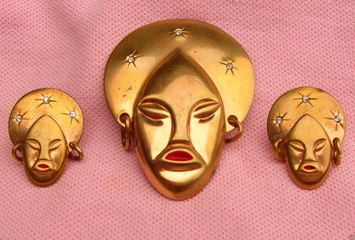 African Queen Brooch and Earring Set