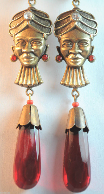 Czech Art Nouveau Crystal Blackamoor Earrings