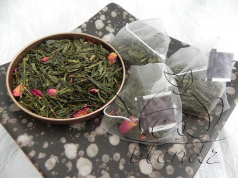 Tea Blendz, Sencha Cherry Rose, Green tea pyramid bag, tea blend