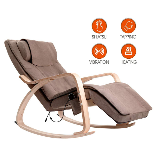 OWAYS Massage Chair 3D Full Back Shiatsu Massager, Rocking Design, Adjustable Pillow, Vibrating and Heating, 6 Massage Modes, Wooden Handrail, Linen Cover with Zippe