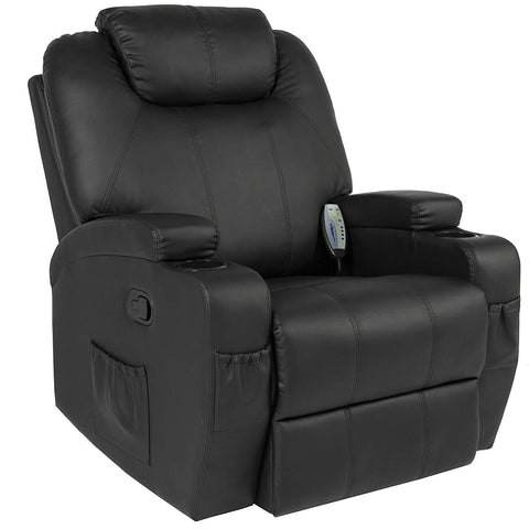 Best Choice Products Executive Faux Leather Swivel Electric Massage Recliner Chair w/Remote Control, 5 Heat & Vibration Modes, 2 Cup Holders, 4 Pockets