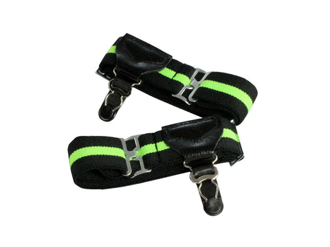 Neon Green & Black Sock Garters