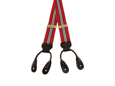 Red, Yellow & Navy Striped Suspenders - Fine and Dandy