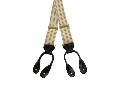 Terra Cotta Striped Suspenders - Fine and Dandy