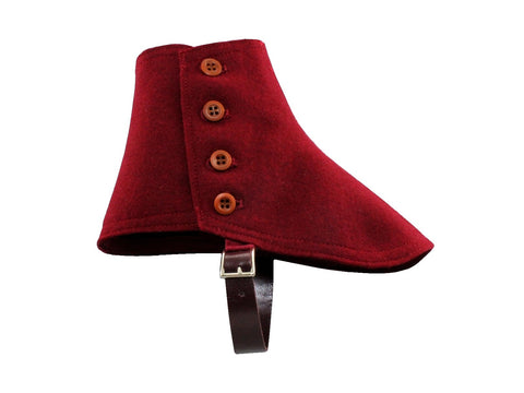 Burgundy Wool Felt Spats - Fine and Dandy